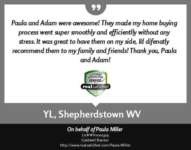Adam Miller, REALTOR - Real Satisfied customer testimonial for a successful real estate transaction from Yuhsuan Liao, Shepherdstown, West Virginia 25443.  ''Paula and Adam were awesome.  They made my home buying process went super smoothly and efficientl